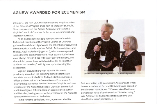 Agnew receives award for ecumenism.